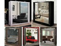 CHICAGO 2 DOOR SLIDING MIRROR WARDROBE - EXPRESS DELIVERY SALE ON NOW