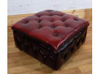 Oxblood red Chesterfield stool