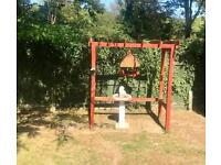 Garden hanging bird table and water feature.