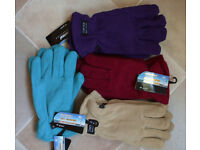 4 PAIRS OF WOMEN'S THERMAL INSULATED FLEECE GLOVES-40gram of thinsulate fleece