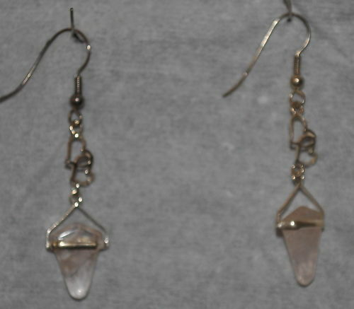Rose Quartz & Hearts Earrings .925 Silver (27) Free Ship w/ Pro Packing