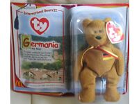 TY BEANIES BABIES - International Bears 11 - GERMANIA AND OSITO - brand new and packaged,
