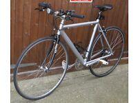 Flat bar road bike, vintage 55cm Argos aluminium frame, ITM carbon fork, 700c wheels