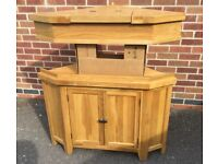 Brand New, Aqua Oak Corner Aquarium Base Cabinet & Hood