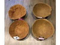 4 x 30cm (12 inch) Hanging Basket Liners - 2 x Coco & 2 x Fibre - Brand New