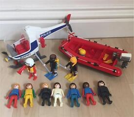 Playmobil 10 figures rescue police helicopter speedboat divers pilot like Lego toy