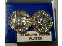 Sterling silver plated round earrings