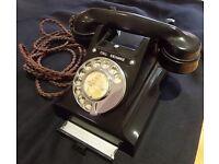 Vintage Black Bakelite GPO Telephone, 312L