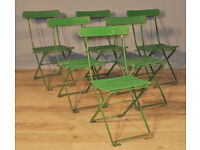 Set of 6 Stylish Vintage 1930's Green Painted Folding Cafe Dining Chairs