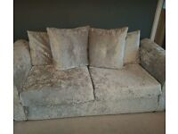 3 seat silver crushed velvet sofa
