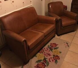 Two seater sofa and chair brown leather excellent condition