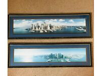 LARGE GLASS FRAMED PICTURES NEW YORK & SAN FRANCISCO