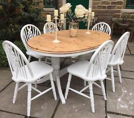 Farmhouse Extending Oval Dining Table & 6 Chairs