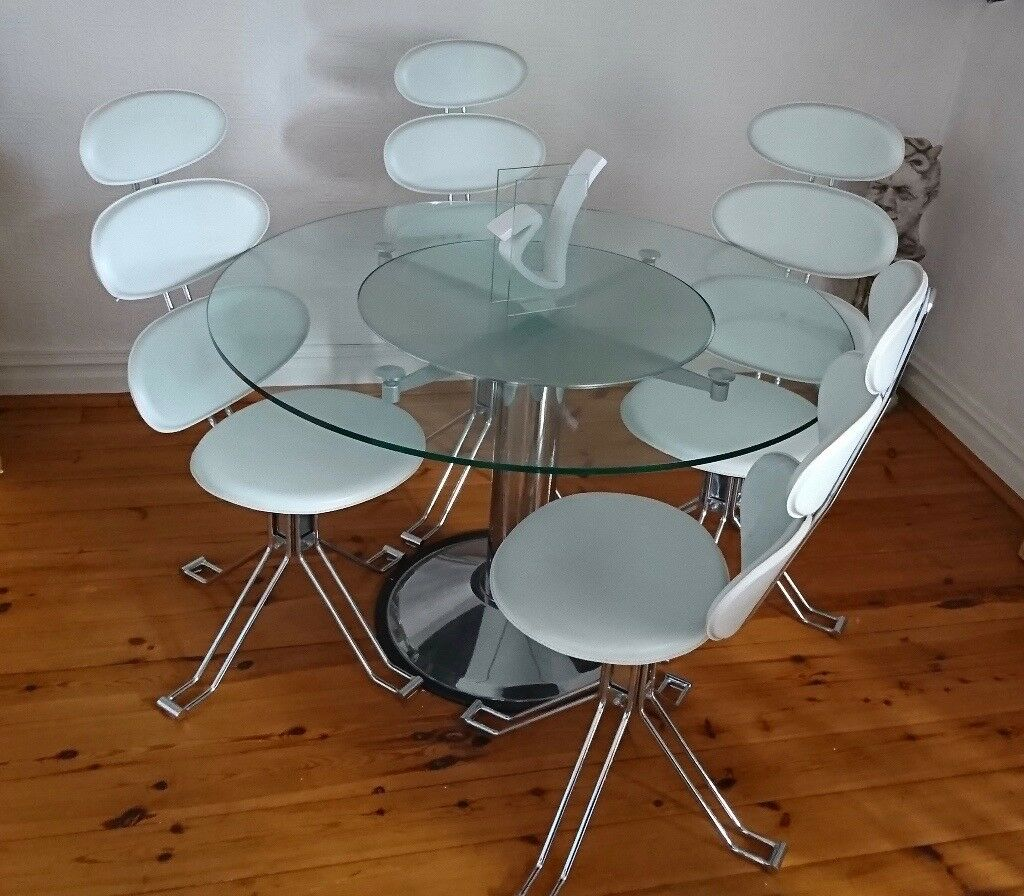 Revolving Modern / Contemporary Round Glass Dining Table & 4 White & Chrome Chairs
