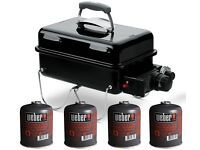 Weber Go Anywhere Black Gas Barbecue & 3 Gas Canisters