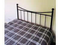 Double bed frame, metal, black, wooden slats