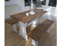 Pine Dining Table With Benches / Chairs