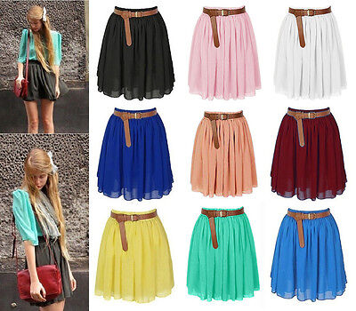 Pleated Chiffon Mini Skirt - Women Mini Skirt Girl Chiffon Short Dress Pleated Retro Elastic Waist 25 Colors