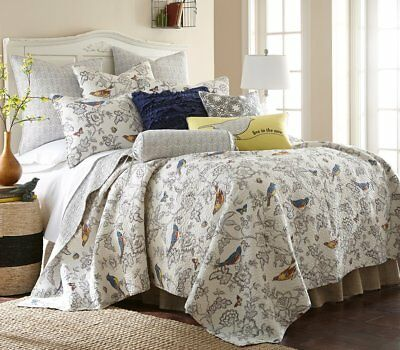 Levtex Home Mockingbird Reversible Quilt Set Grey King NWT Birds Butterfly