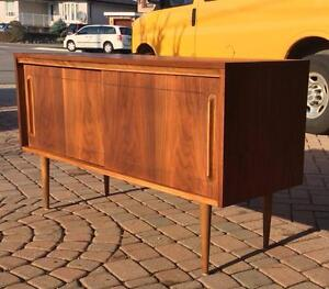 REFINISHED Mid Century Modern Walnut Buffet Sideboard Media TV Console
