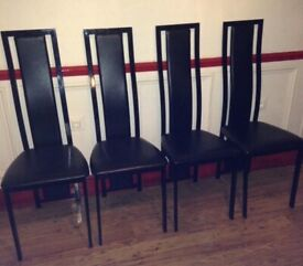BEAUTIFUL 4 BLACK LEATHER DINING CHAIRS