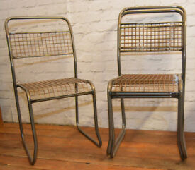 7 available metal stacking vintage chairs antique industrial restaurant retro seating wooden school