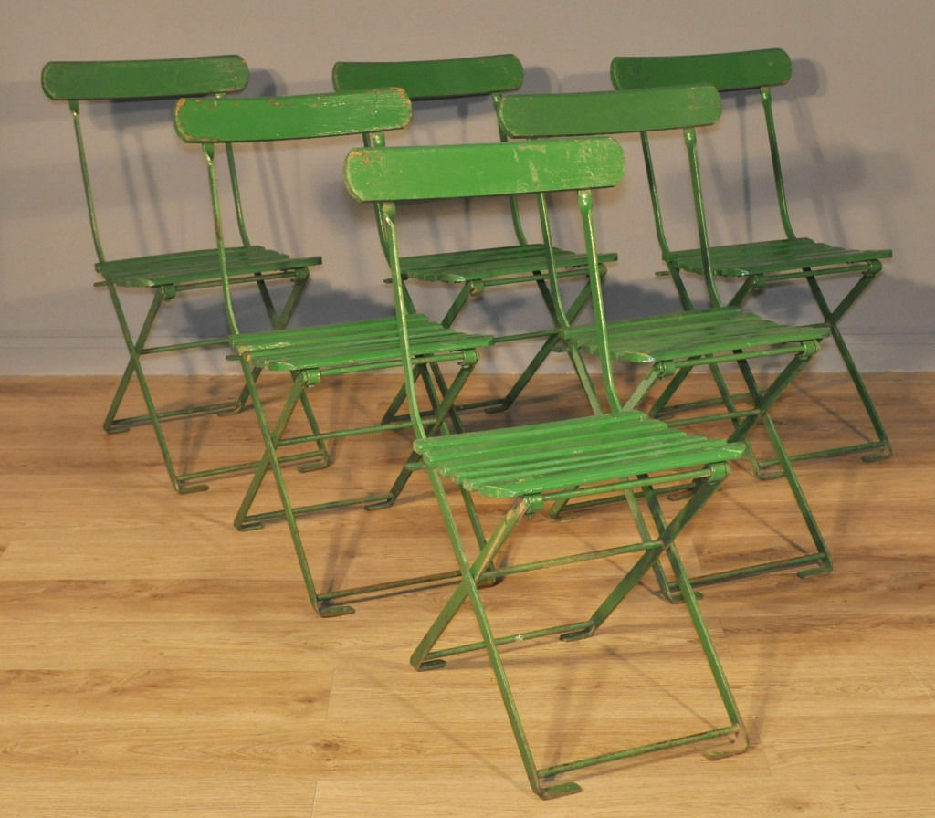 Set Of 6 Stylish Vintage 1930u0027s Green Painted Folding Cafe Dining Chairs