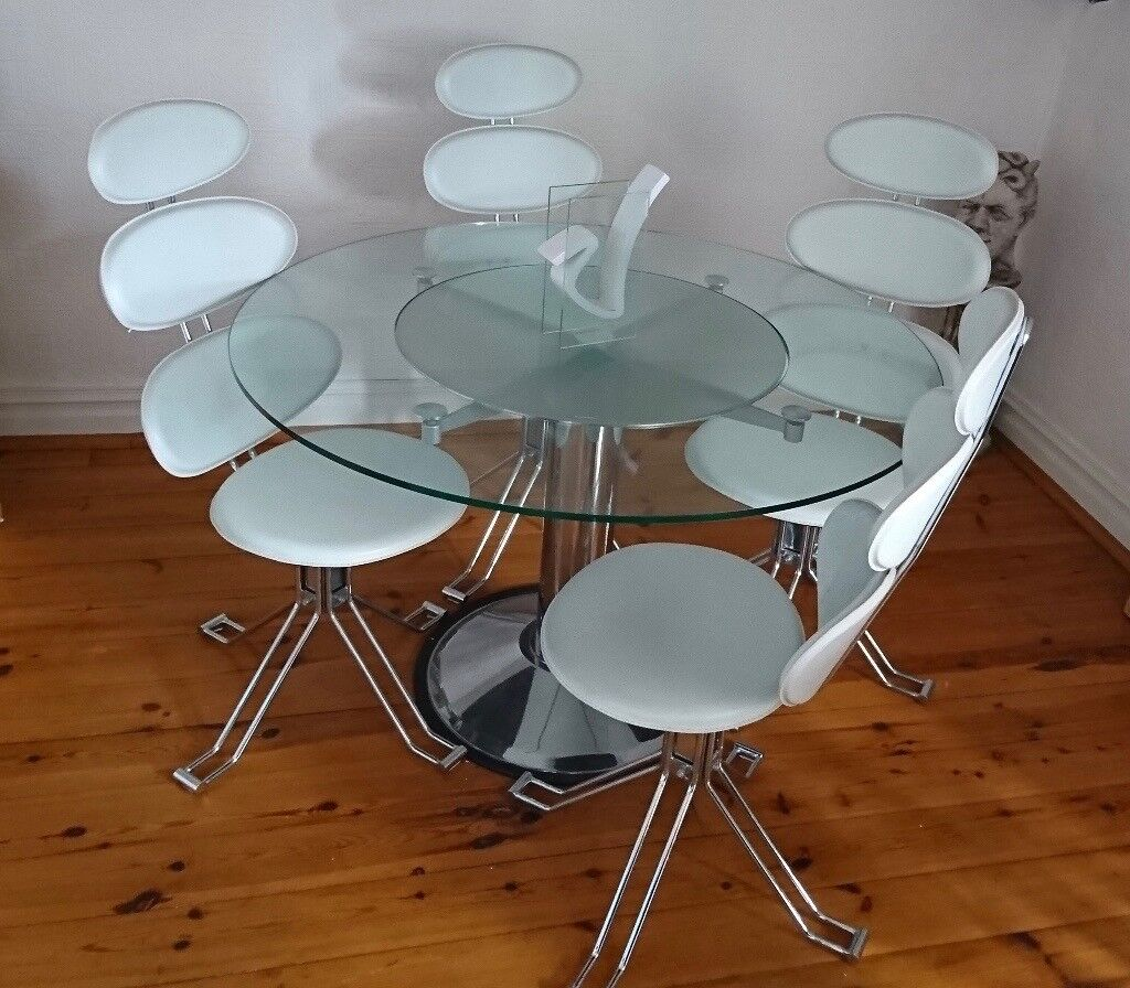 Ordinaire Revolving Modern / Contemporary Round Glass Dining Table U0026 4 White U0026 Chrome  Chairs