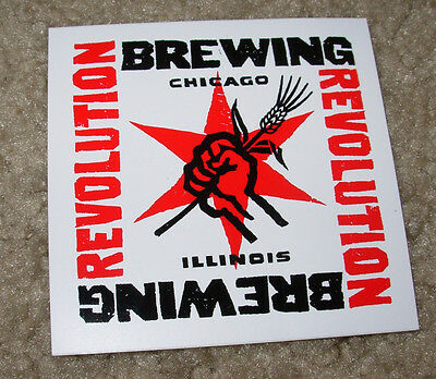 REVOLUTION BREWING promo SQUARE LOGO STICKER decal craft beer brewery Chicago