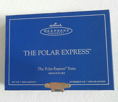 Hallmark POLAR EXPRESS Christmas Train Miniature Ornaments set 7 Die-Cast Minis