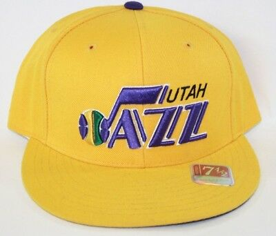 NEW Utah Jazz MITCHELL & NESS NBA Yellow Logo Fitted Baseball Hat Cap  ()