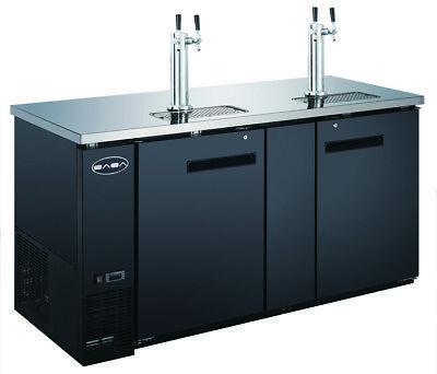 Saba 69 Black Commercial Beer Cooler Beer Tap Kegerator 2 Doors 27 Depth