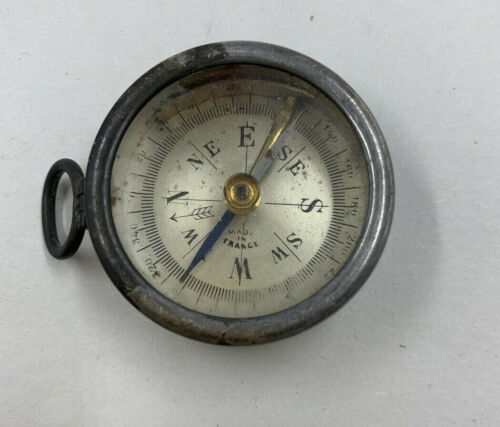 Antique Sterling 925 POCKET COMPASS Made in France, Pendant