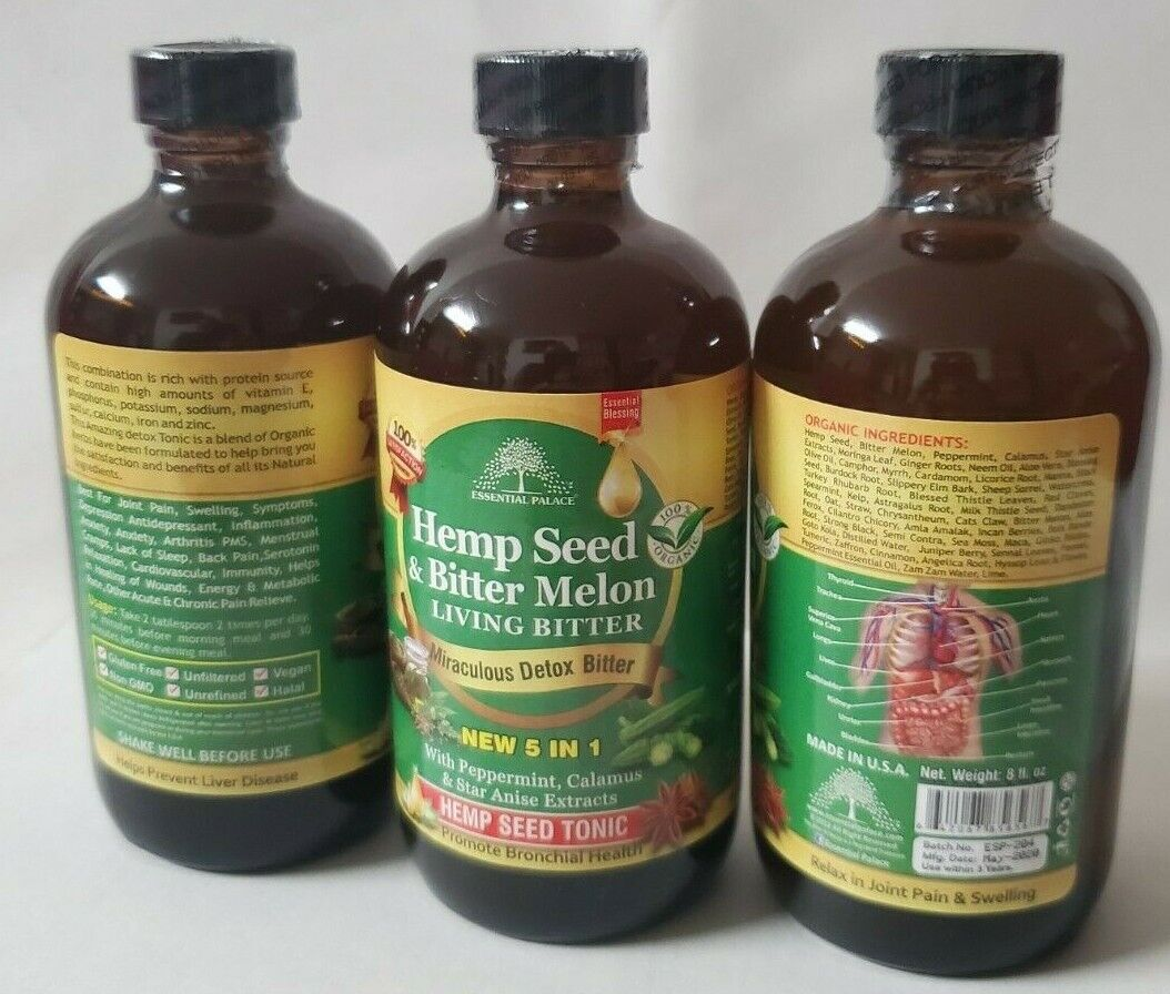 Organic HEMP SEED & MELON Living Bitter, Essential Palace Miraculous Detox Tonic 9