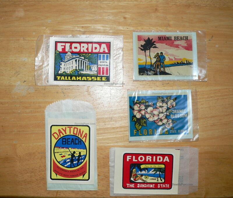 5 Diff Vintage Florida Souvenir Water Transfer Decals Baxter Lane Great Western