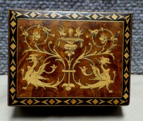 Antique Marquetry Inlaid Box 19th C Birds Eye Maple    BS