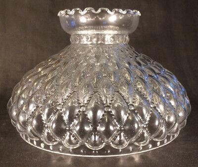 "10"" Clear Glass Diamond Quilted Quilt Oil Kerosene Lamp Shade fits Aladdin SH401"