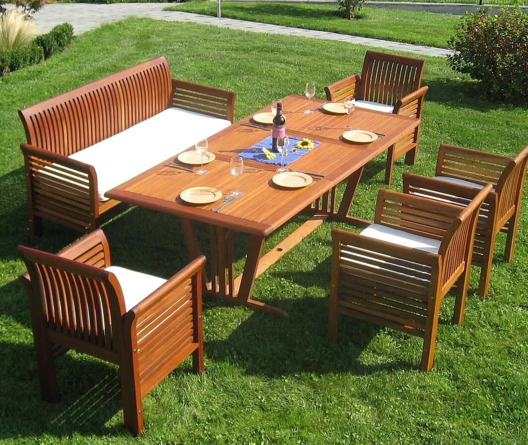 Gartenmöbel Set Sitzgruppe FSC Holz BIG FAMILY incl AUFLAGEN Sitzgarnitur Garten