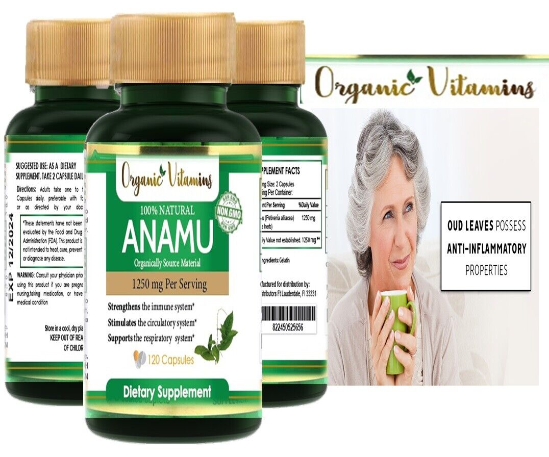 Natural Whole Herb Anamu PIlls 1250Mg Guinea Hen Weed 120 Capsules