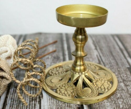 "Brass Tealight / Votive Candle Holder intricate mandala design 3 1/4"" - Israel"