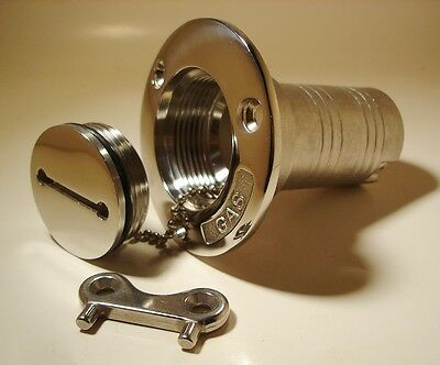 """DECK FILL 1 ½"""" with Key for GAS Fuel Tank 316 grade Stainless Steel Marine Boat"""