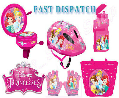 Disney PRINCESS Kinder Fahrrad Set Zubehörteil Helm Bell Korb Handschuhe