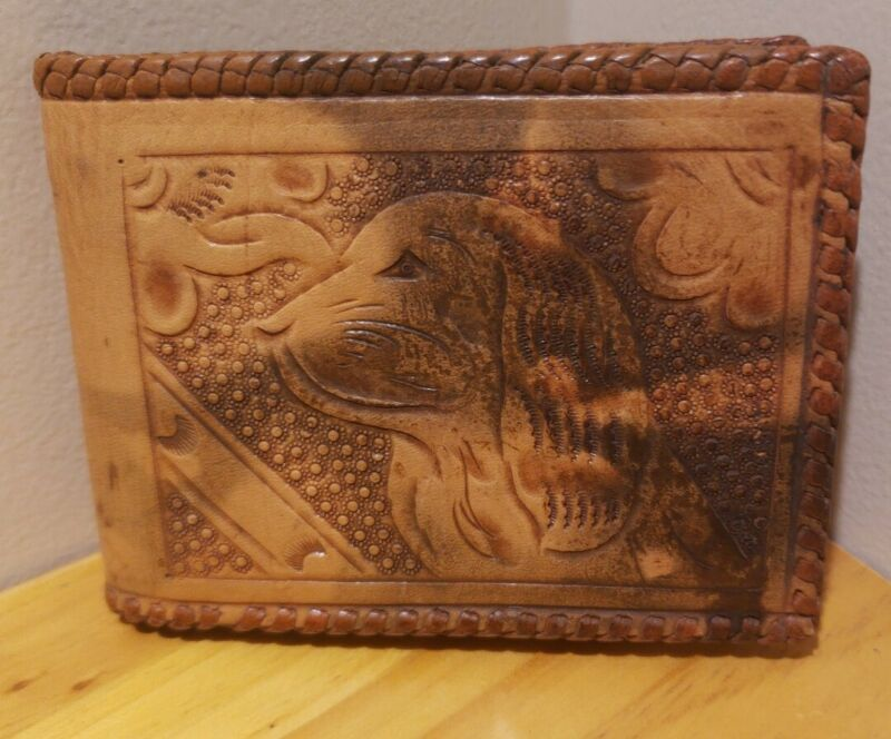 Vintage Mexican Mexico Brown Leather Wallet 1950s 3D Embossed Dog Floral Print