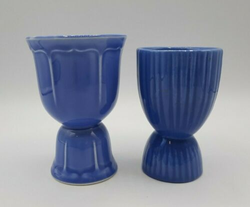 Set of Two Ceramic Double Egg Cups Blue