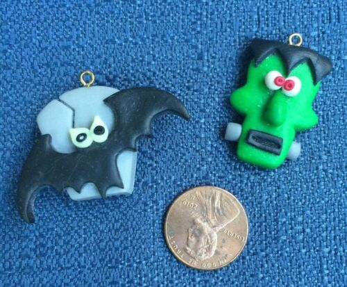 Frankenstein's Monster & Bat w/ Gravestone Ear Ring Or Necklace Charms HALLOWEEN