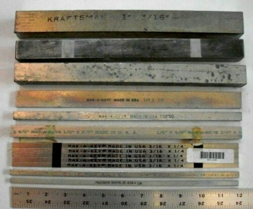 "Key Stock Assortment 12"" Length - 1-3/16"" sq, 1"" sq, 1/2x5/8, 3/16x1/4, and more"