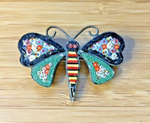 ANTIQUE ESTATE LATE 1800s VICTORIAN MILLEFIORI MOSAIC BUTTERFLY PIN BROOCH