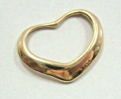 L@@K Cute Real 14K Yellow Gold Open Heart Pendant Charm girls women love Cute Open Heart