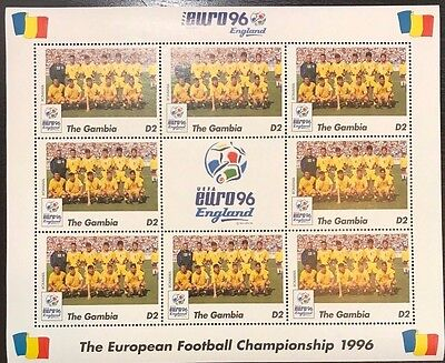 Gambia '96 Euro England Football Championship Stamp- Romania Sheetlet of 9