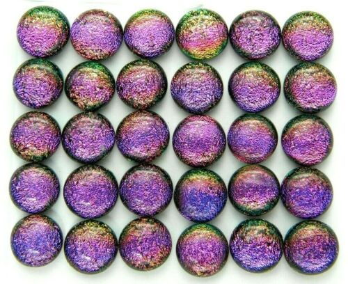 Lot 30 pcs round gorgeous DICHROIC earrings bracelet FUSED GLASS (BB5) CABOCHONS